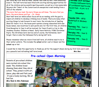 Weekly Newsletter w/e 18th October